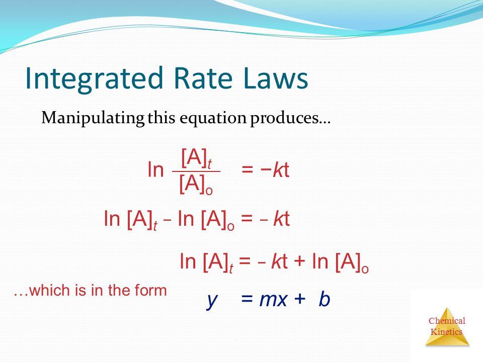 Integrated Rate Laws ln [A]t [A]o = −kt ln [A]t − ln [A]o = − kt